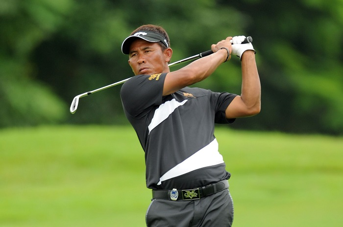 JOHOR BAHRU, MALAYSIA - DECEMBER 14: Thongchai Jaidee of Thailand in action during round two of the Iskandar Johor Open at Horizon Hills Golf & Country Club on December 14, 2012 in Johor Bahru, Malaysia. (Photo by Khalid Redza/Asian Tour/Asian Tour via Getty Images)