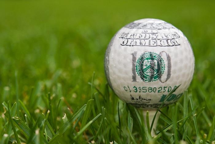 Dollar-bill-golf-ball