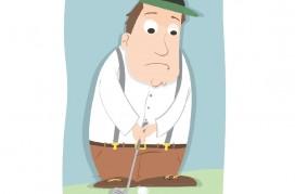 cartoon nervous male golfer