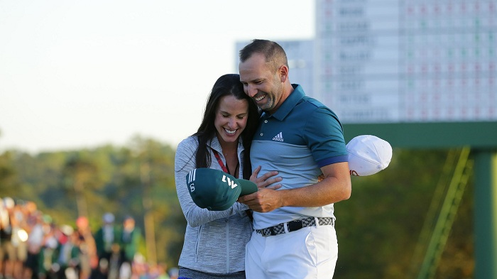 Sergio Garcia of Spain wins in a playoff over Justin Rose of England during the final round of the Masters at Augusta National Golf Club, Sunday, April 9, 2017.