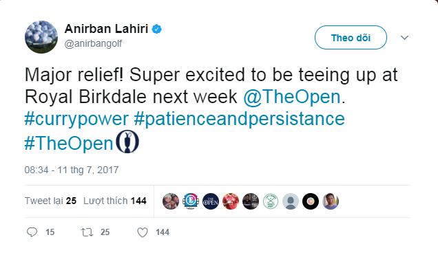 Anirban Lahiri tweet trên trang cá nhân
