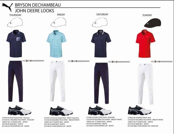 Trang phục của Bryson Dechambeau trong 4 ngày thi đấu