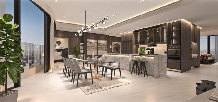 Phòng ăn và nhà bếp tại Penthouse City Garden được thiết kế thoáng đãng, trang nhã