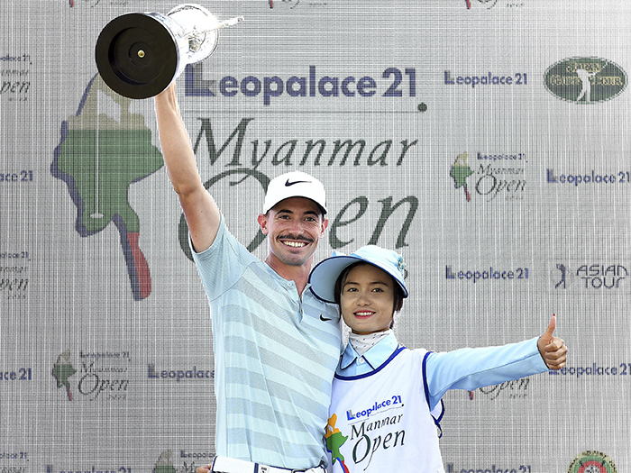 YANGON-MYANMAR- Paul Peterson of the USA pictured with the winner's trophy after round four - Sundday January 28, 2018, of the Leopalace21 Myanmar Open at the Pun Hlaing Golf Club, Yangon, Myanmar. The USD$ 750.000 Asian Tour event is co-sanctioned with the Japan Golf Tour - January 25-28, 2018. Picture by Paul Lakatos/Asian Tour.