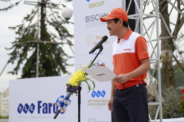 Ông Đỗ Như Tuấn – Phó chủ tịch HĐQT Công ty cổ phần xây dựng FLC Faros phát biểu khai mạc giải đấu