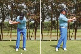 Đây là tư thế swing cơ bản của pitch, trọng lượng luôn đổ dồn về chân trái trong suốt cú swing, đồng thời backswing có kiểm soát hơn và hướng thẳng về trước.