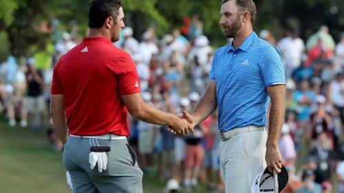 Dustin Johnson (phải) đánh bại Jon Rahm tại WGC-Dell Technologies Match Play 2017