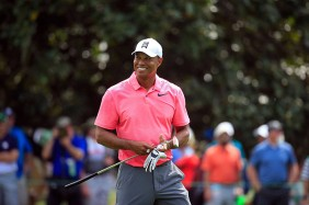 Tiger Woods tại vòng đấu tập đầu tiên. Photo: Masters Tournament