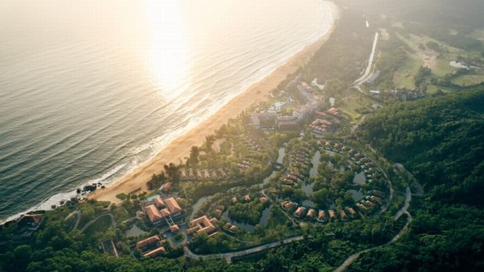 Aerial view of the luxury resort Banyan Tree Lăng Cô