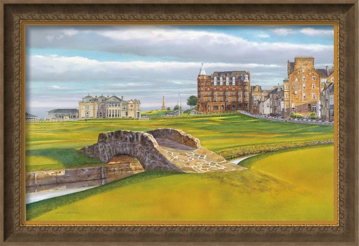 St-Andrews-Links-Old-Course-18th-Hole,-Swilcan-Bridge-Canvas-Giclee-Framed
