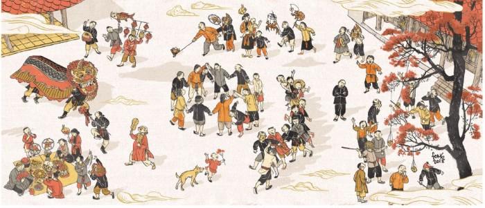 Tranh Đêm hội trăng rằm của họa sĩ Nguyễn Thành Phong