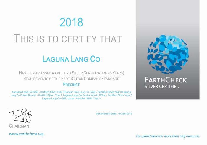 EarthCheck Silver Certification to Laguna Lăng Cô