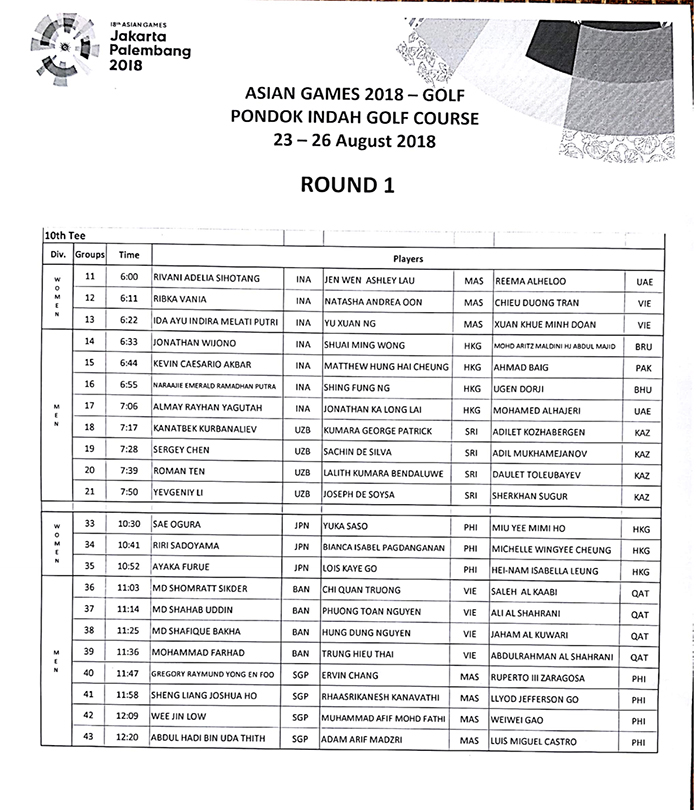 Tee Time V1 Asiad