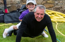 Picture by John Young - YoungMedia.co.uk  Picture shows Gary Player showing how fit he is by doing press-ups with young golfer Jack Dirkin on his back.  Junior golf sensations Jack Dirkin (5) and Tommy Morrissey (4) got to meet golf legend Gary Payer in St Andrews as they tried out new revolutionary kids golf clubs designed in Scotland.  Five-year-old Jack from Shropshire, the UKs number one Under-5 golfer, has qualified for the World Under-6 championships in Pinehurst, Carolina, at the end of July 2015. Mean while Tommy, from Florida, who is already an internet and tv star due to his golfing ability despite being born without a right hand and lower arm.  Golphin for Kids is a Scottish company whoes founder Calum McPherson invented a light weight golf club with a larger sweet spot to make it easier for kids to hit the ball well.  Picture by John Young © www.youngmedia.co.uk 2015