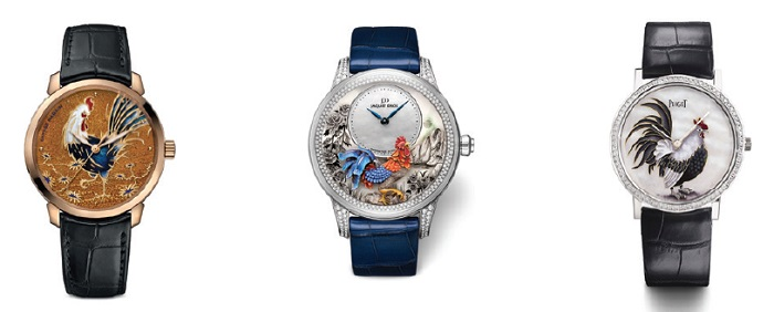 Từ trái sang phải: Classico Year of the Rooster - Jaquet Droz Petite Heure Minute Year of the Rooster - Piaget Altiplano Year of the Rooster