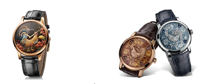"Từ trái sang phải: L.U.C XP Urushi Year of the Rooster - Vacheron Constantin Metiers d'Arts ""Legend of the Chinese Zodiac"" Rooster"