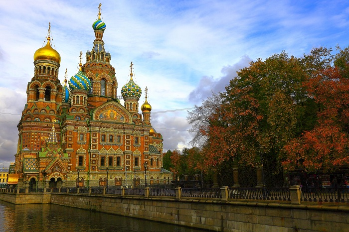 Church of the Savior on Spilled Blood dramatic sunset and canal, St. Petersburg, Russia.