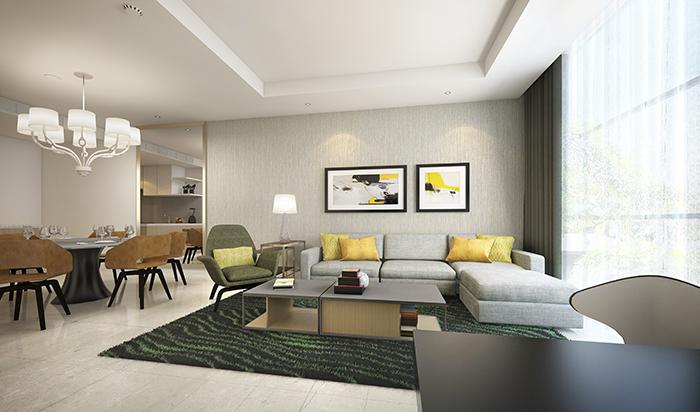 Ảnh minh họa căn hộ 3 phòng ngủ tại Oakwood Residence Saigon