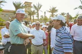 Ernie Els with His Excellency Yasir bin Othman Al-Rumayyan during the Grand Opening Ceremonial Tee Shot