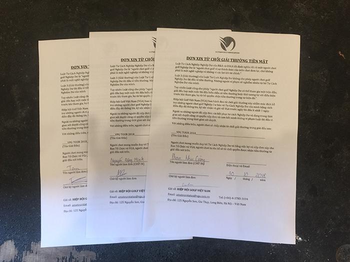 Đơn xin từ chối nhận tiền mặt của 3 gôn thủ nghiệp dư khi tham dự giải golf Chuyên nghiệp của VGA tổ chức