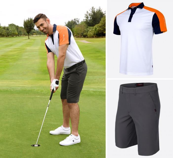 Màu trắng phối hợp với cam và xanh đậm tạo nên sự trẻ trung, năng động trên sân golf