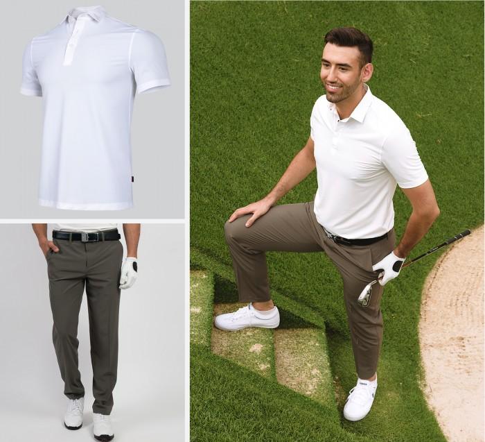 Trang phục trắng xám tạo sự tinh tế, thanh lịch, phù hợp cho bất cứ golfer ở độ tuổi nào