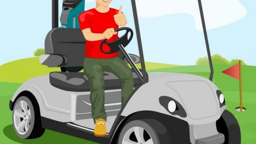 young-golfer-driving-a-golf-cart-with-clubs-vector-8525679