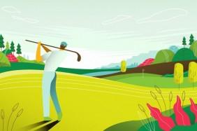 landscape-view-golf-course-tournament-map-vector-flat-illustration