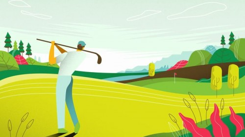 landscape-view-golf-course-tournament-map-vector-flat-illustration