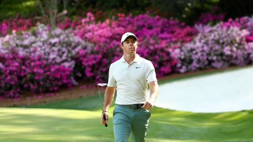 Apr 3, 2018; Augusta, GA, USA; Rory McIlroy walks-off the 13th green during a practice round for the Masters golf tournament at Augusta National GC. Mandatory Credit: Rob Schumacher-USA TODAY Sports