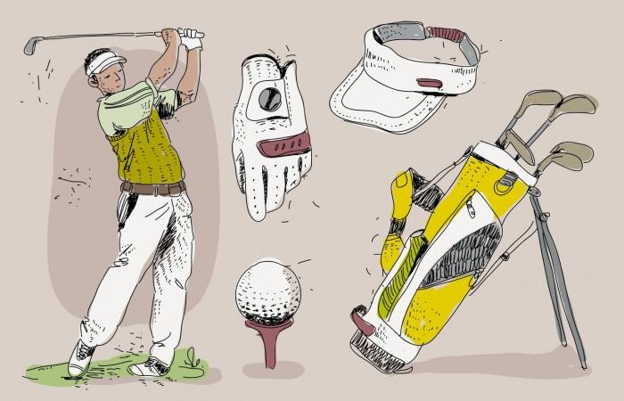 vintage-golf-player-essensials-hand-drawn-vector-illustration