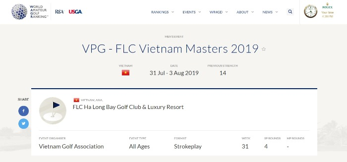 Giải đấu có tên chính thức VPG - FLC Vietnam Masters 2019 trên WAGR