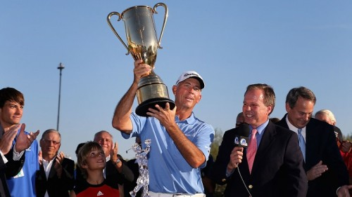 SCOTTSDALE, AZ - NOVEMBER 04:  Tom Lehman hoists the Schwab Cup after winning the Charles Schwab Cup Championship on the Cochise Course at The Desert Mountain Club on November 4, 2012 in Scottsdale, Arizona.  (Photo by Christian Petersen/Getty Images)